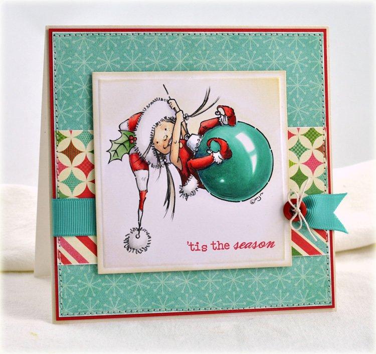 Рождественская открытка нарисованная маркером копик